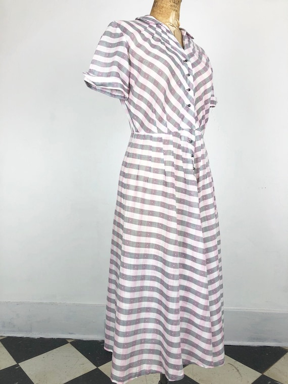 CUTE 1950's Sheer Pink and Grey Gingham Dress M