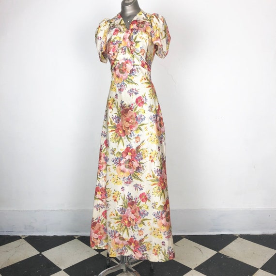 AMAZING 1930s Floral Taffeta Bias Cut Gown S