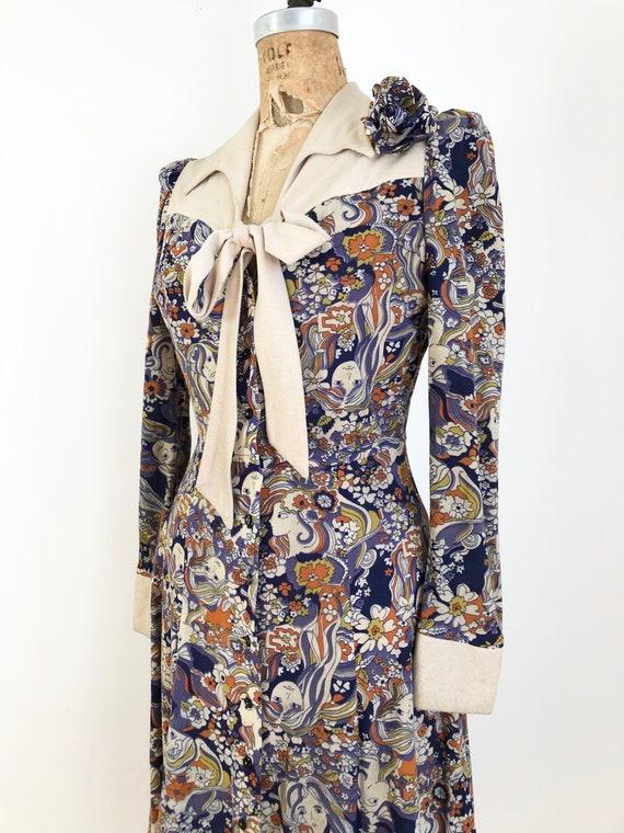 1960's Psychedelic Novelty Girl Print Dress S - image 3