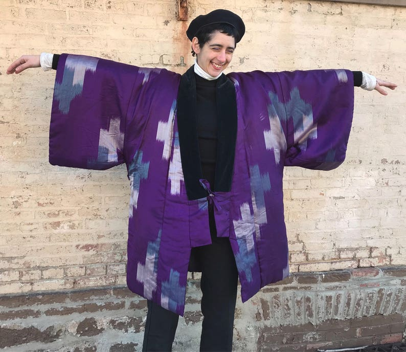 50/'s Japanese Meisen Quilted Silk KimonoHaori ML