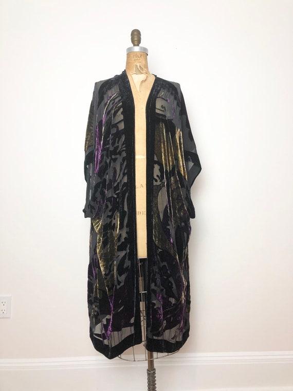 1970s Burnout Velvet Sheer Robe Duster M L - image 4