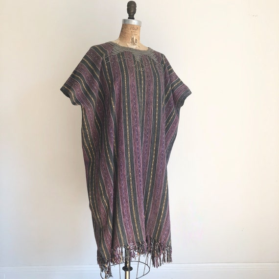 1970s Hand Woven Embroidered Poncho M