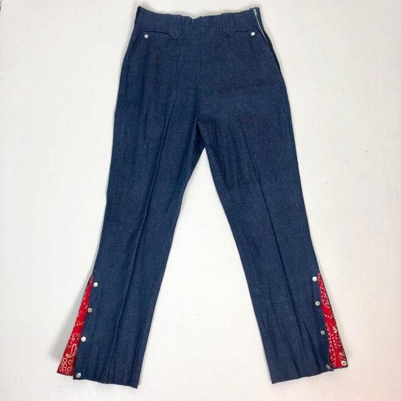 Deadstock NOS 1950s Denim Western Bandana Pants M