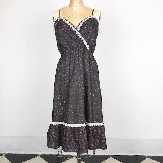 CUTE 1970s Black Cotton Lace Prairie Tank Dress S