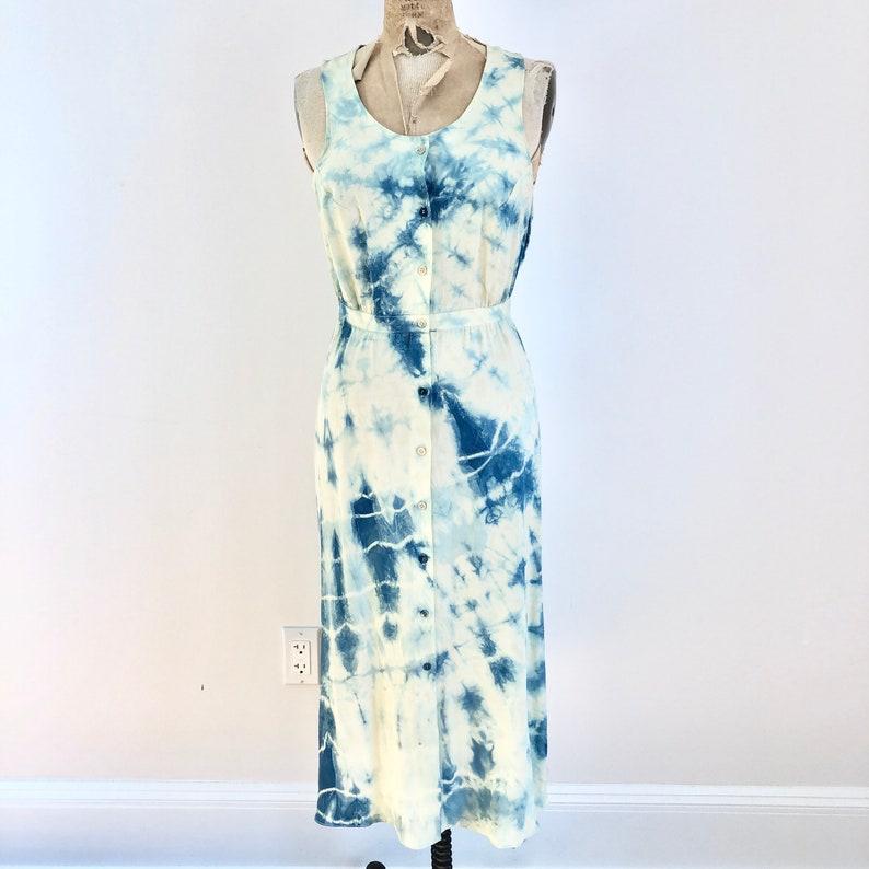1990s Tie Indigo Dyed Silk Sleeveless Dress S