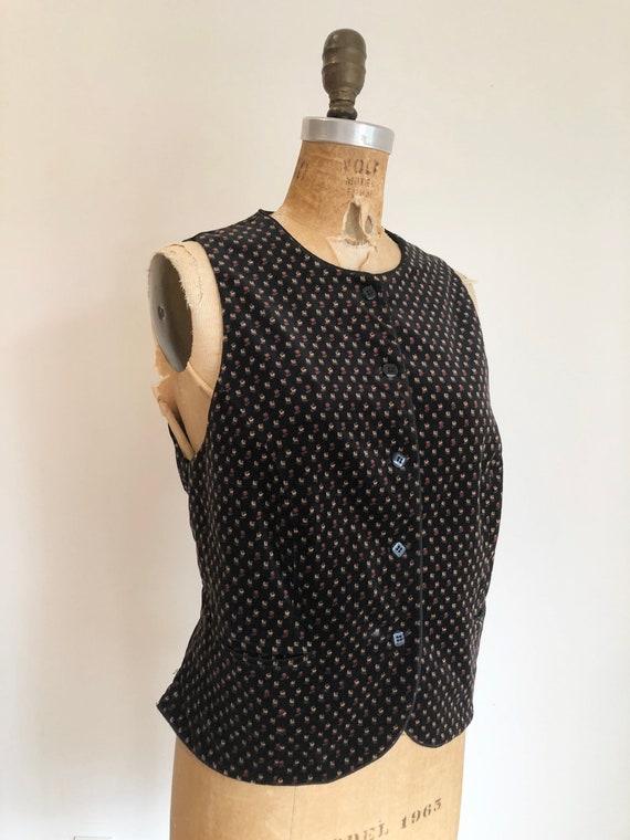 1970s Ditsy Floral Velvet Vest S