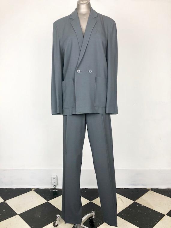 Amazing Bobbie To 70s Grey Wool Pant Suit