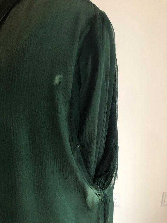 1930s Emerald Green Silk Velvet Jacket S - image 7