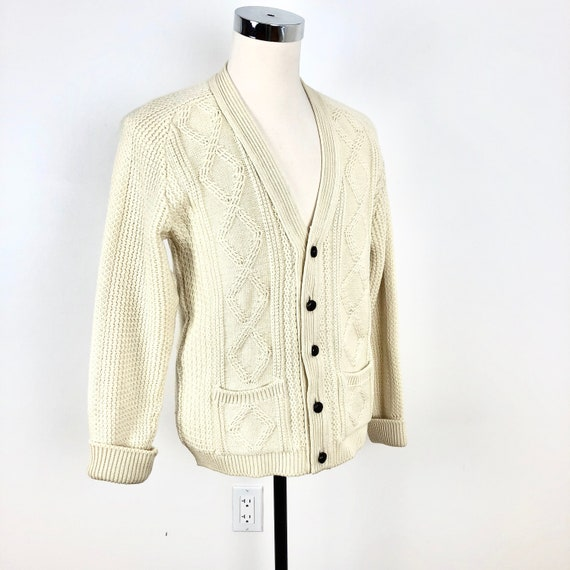 1960's Ivory Cable Knit English Wool Cardigan M