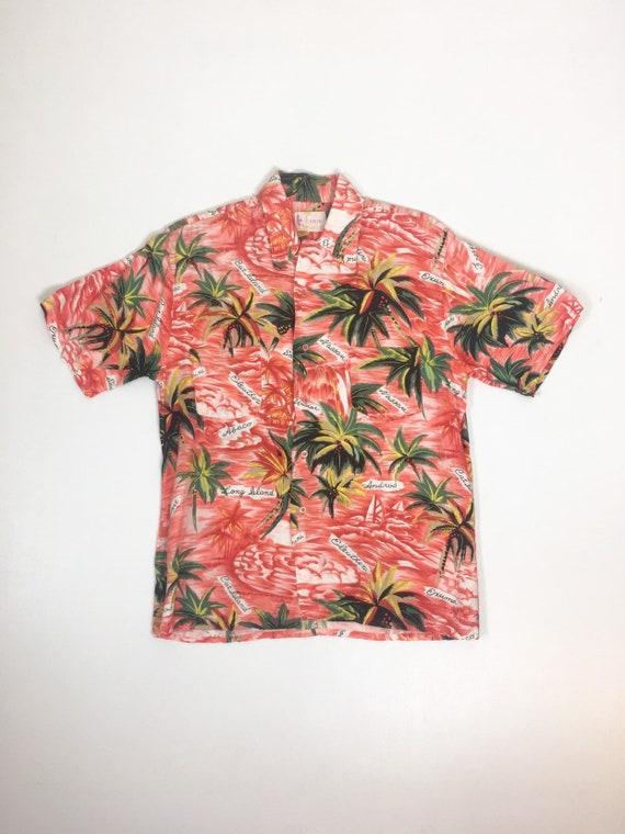 1960s Pink Rayon Hawaiian Shirt