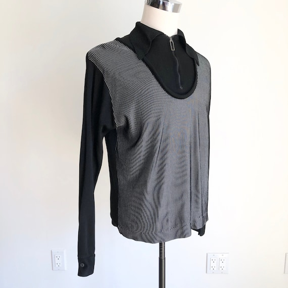 1960s Black Mock Neck Campus Knit Pullover M L