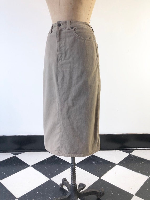 1980's Calvin Klein Khaki Denim Pencil Skirt XS