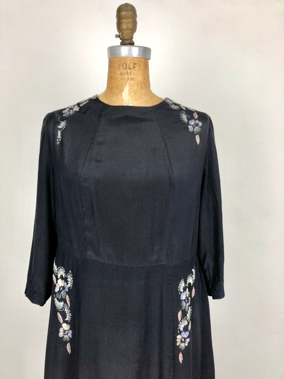 1930s Navy Silk Floral Embroidered Peasant Dress S - image 1