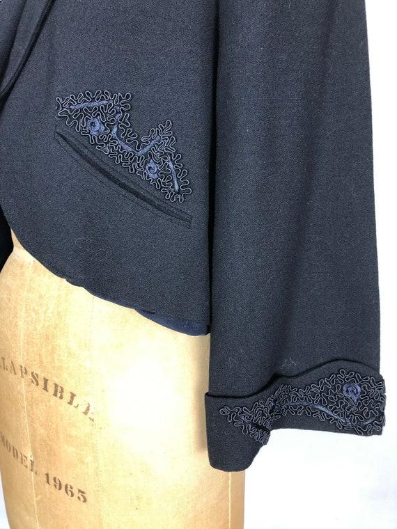 1940's Wool Bolero Jacket W/ Applique M - image 6