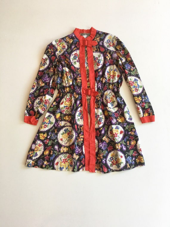 Adorable 1940s Printed Floral Buckle Tunic Smock M