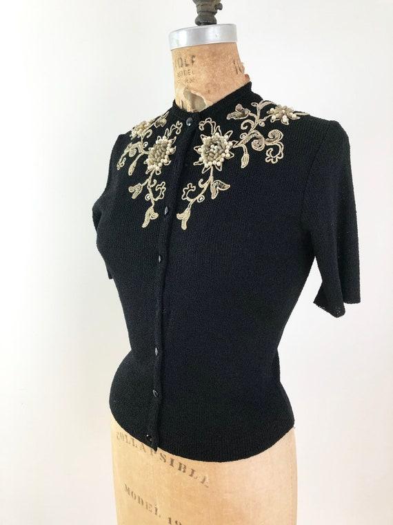 Amazing 1940s Heavily Beaded Short Sleeve Cardigan