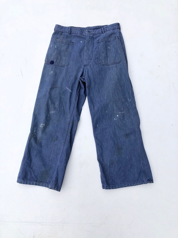 "1940s USN Denim High Waist Jeans Pants 32"""