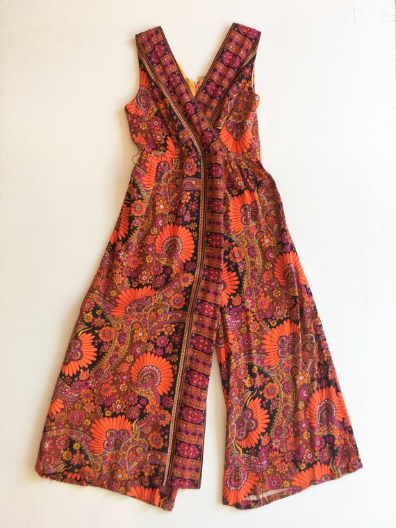 Fabulous 1960s Psychedelic Paisley Jumpsuit M