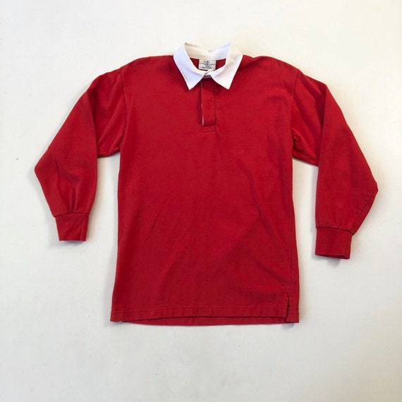 Deadstock 1980s Red Cotton Rugby Shirt S