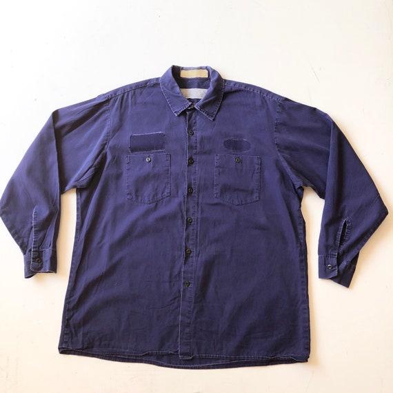 1970's Dickies Blue Cotton Work Shirt XL