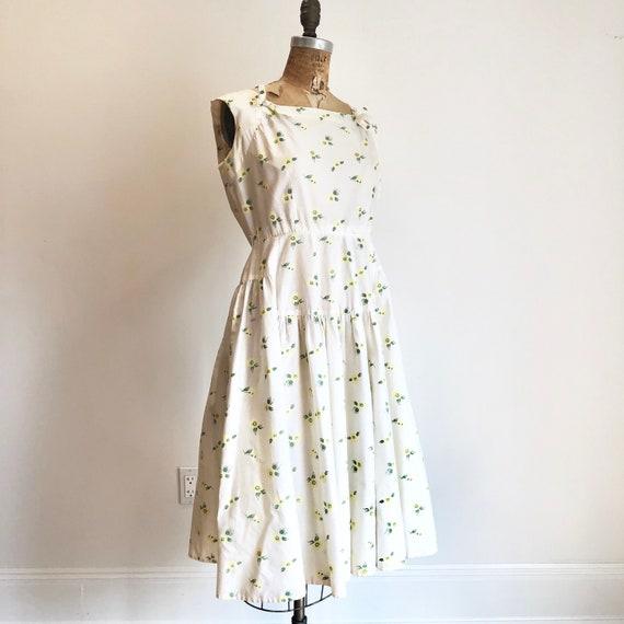 1950s White Cotton Yellow Floral Sun Dress M