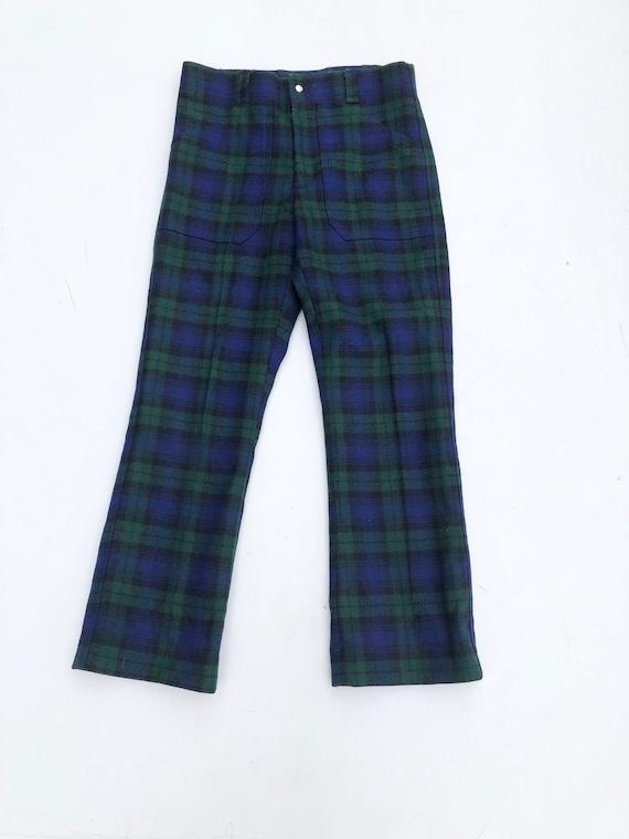 """1960's Blue Tartan Plaid Wool Trousers 28"""""""