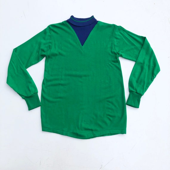 MOD 1960s Green Knit Mock Neck Pullover S
