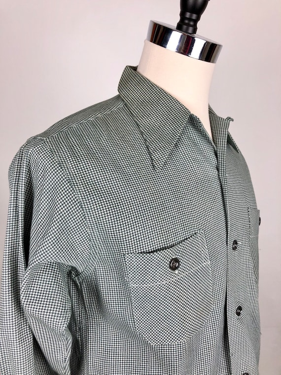 1950s Houndstooth Dunhill Cotton Loop Collar Shir… - image 4