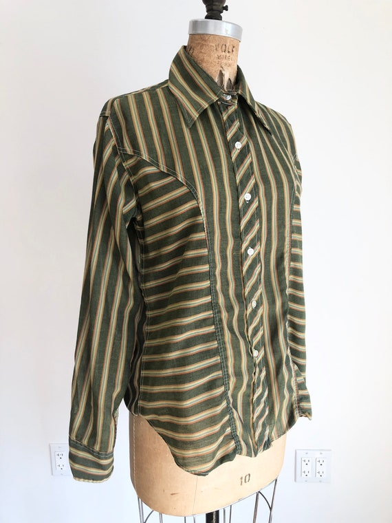 1970s Orsini Green Striped Tailored Tuxedo Shirt M