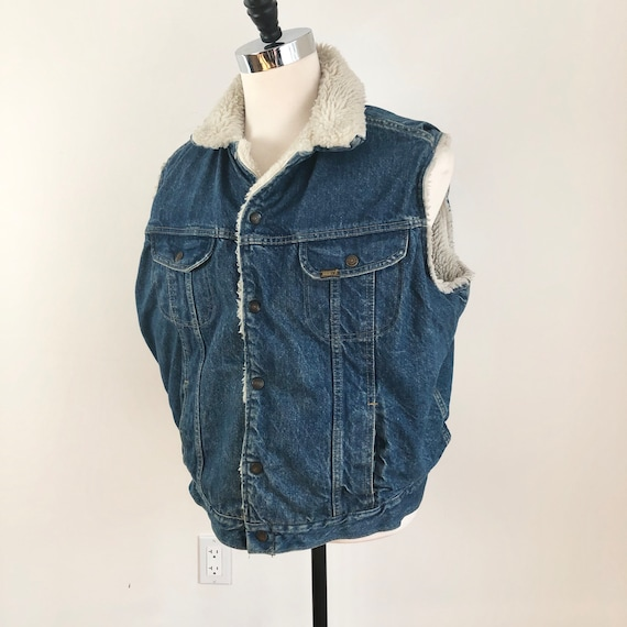 1970s Roebucks Western Wear Sherpa Lined Denim Ves
