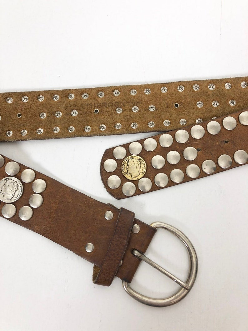 KILLER 70\u2019s Coin Studded Leatherock Leather Belt