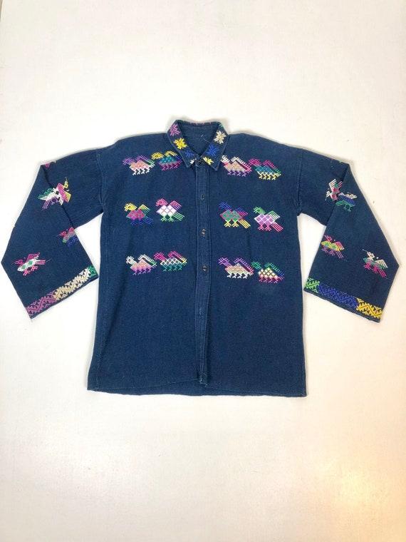 70's Indigo Dyed Embroidered Guatemalan Shirt M