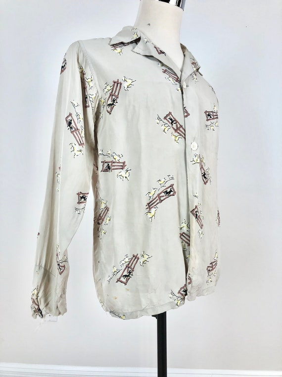 1940s Counting Sheep Print Cold Rayon Shirt M