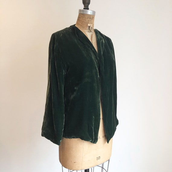 1930s Emerald Green Silk Velvet Jacket S