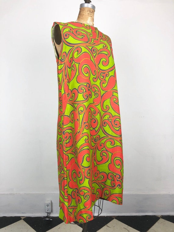 GROOVY 1960's Psychedelic Print Linen Shift Dress