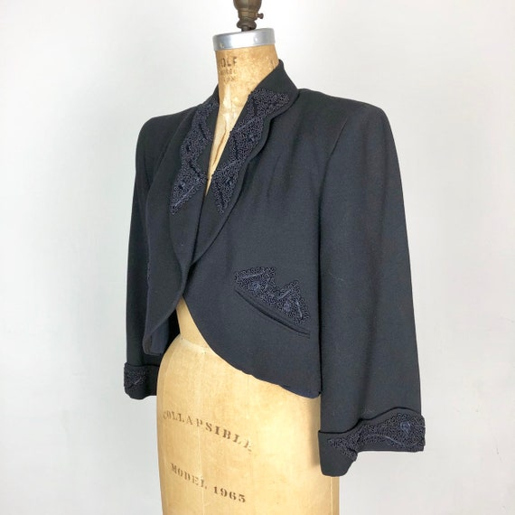 1940's Wool Bolero Jacket W/ Applique M