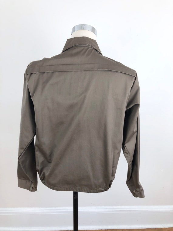 1950s Taupe Grey Cotton Zip Up Ricky Jacket M - image 5