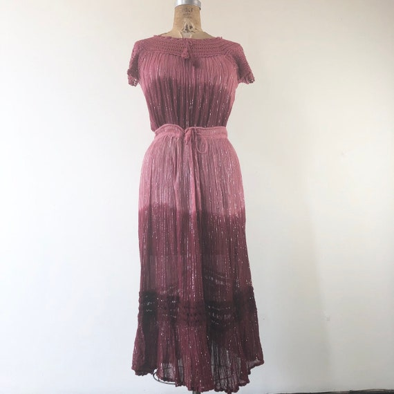 1970's Pink Ombre Gauze Crochet 2 Piece Skirt Set