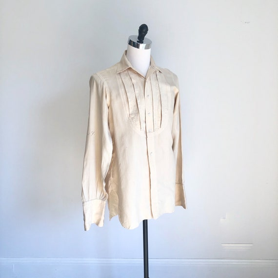 Fabulous 1930s Ivory Silk Tuxedo Shirt M