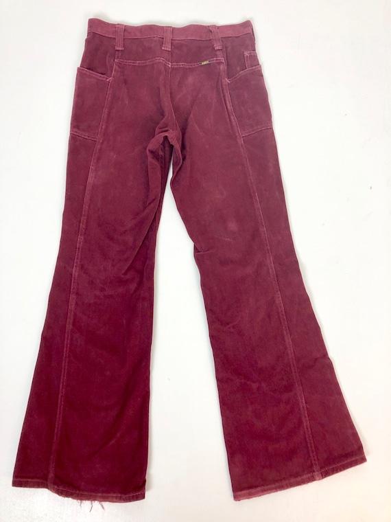 "Fab 1970s Burgundy Moleskin Lee Flares 32"" Waist - image 6"