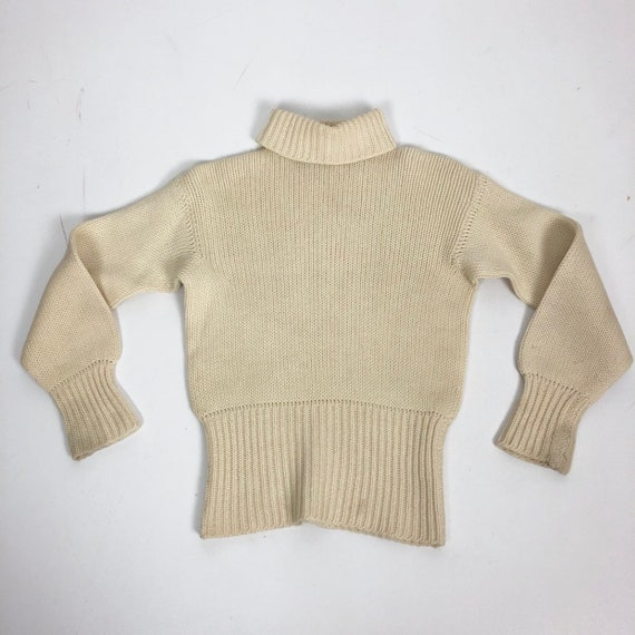 FABULOUS 1940s Ivory Wool Cropped Turtleneck Sweat