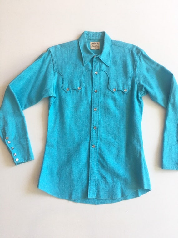 1950s Miller Western Wear Turquoise Cotton Wester… - image 2