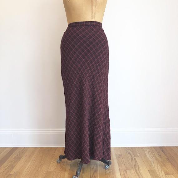 1990's Bias Cut Plaid Rayon Maxi Skirt M