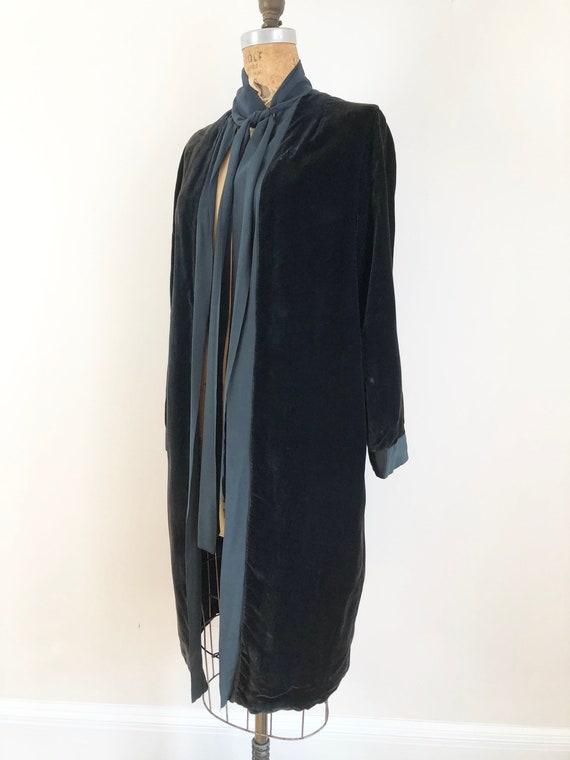 1920s Midnight Blue Silk Velvet Duster S