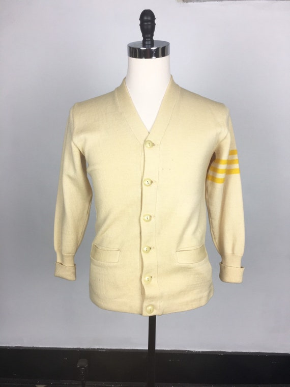 1940s Ivory Varsity Sweater with Yellow Stripes S