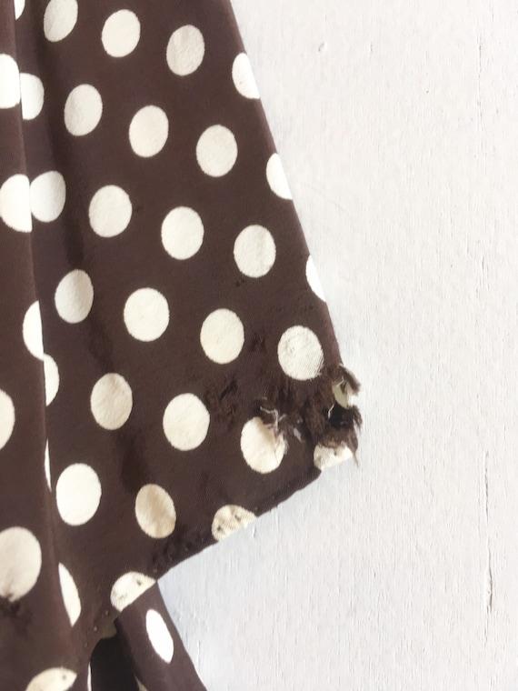 KILLER 1940s Brown Polka Dot Cold Rayon Dress M L - image 10