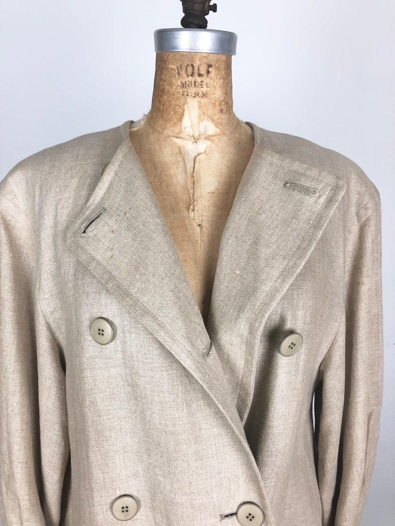 COOL 1980s Ivory Linen Duster Coat M