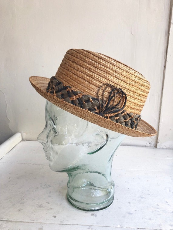 FABULOUS 1950's Italian Straw Fedora Hat
