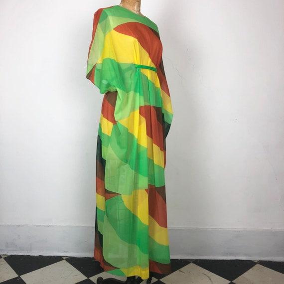 KILLER 1970s Bright Color Block Sheer Caftan S