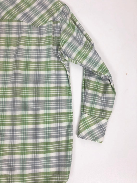 50's Ranchcraft Green Plaid Western Shirt S - image 9
